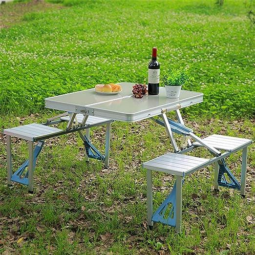 LWKBE Juego de sillas de Mesa Plegables portátiles para Acampar Comodidad de Aluminio Duradero Juego de Mesa de Mesa de Picnic Juego de 4 Asientos Caso Uso en Interiores y Exteriores,Silver: Amazon.es: