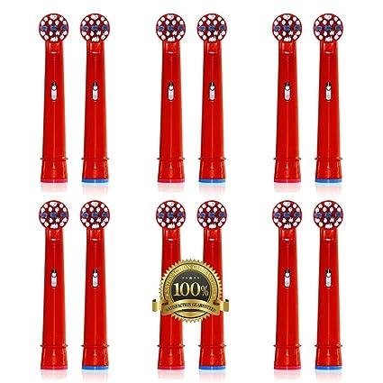 Drkao - 12 cabezales de cepillo de dientes para niños, fabricado con nailon Dupont,