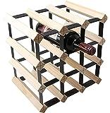 Set of 2 12 Bottle Wooden Metal Wine Rack Natural Wood Colour Cellar Organiser