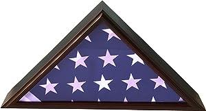 DECOMIL - 5x9 Burial/Funeral/Veteran Flag Elegant Display Case, Solid Wood, Cherry Finish, Flat Base