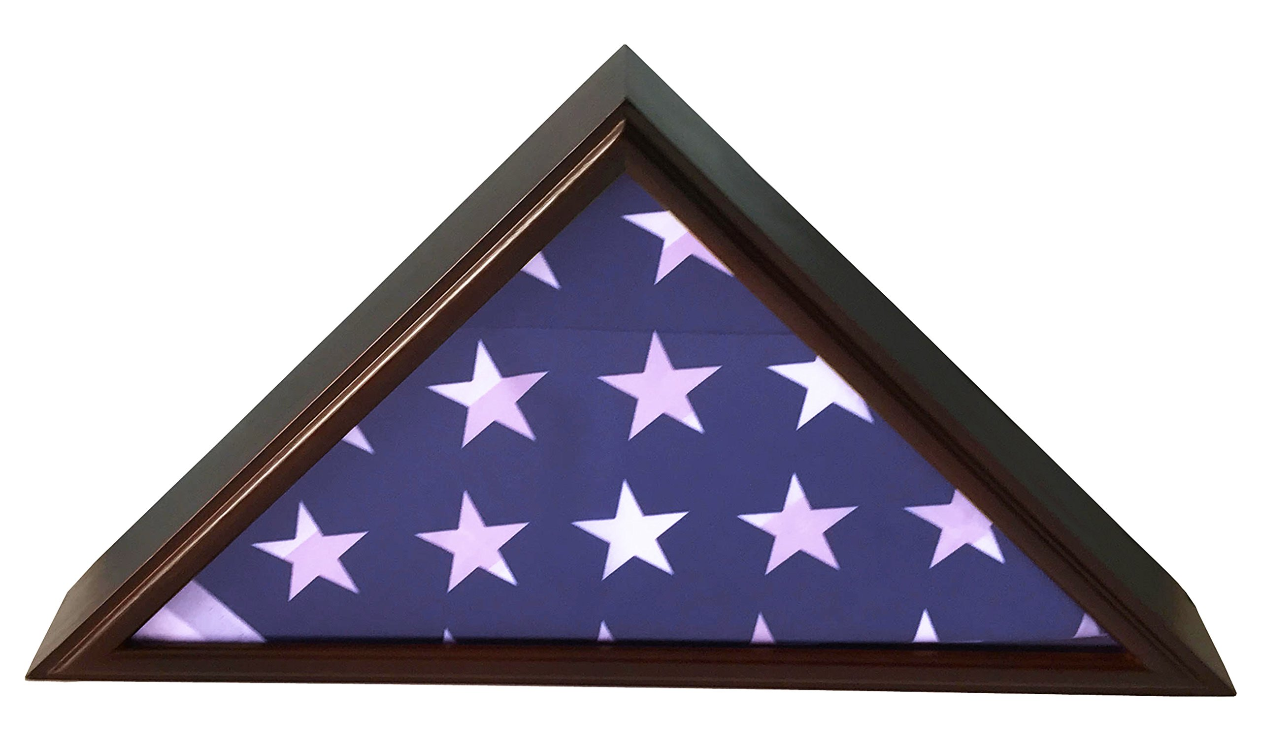 DECOMIL - 5x9 Burial/Funeral/Veteran Flag Elegant Display Case, Solid Wood, Cherry Finish, Flat Base
