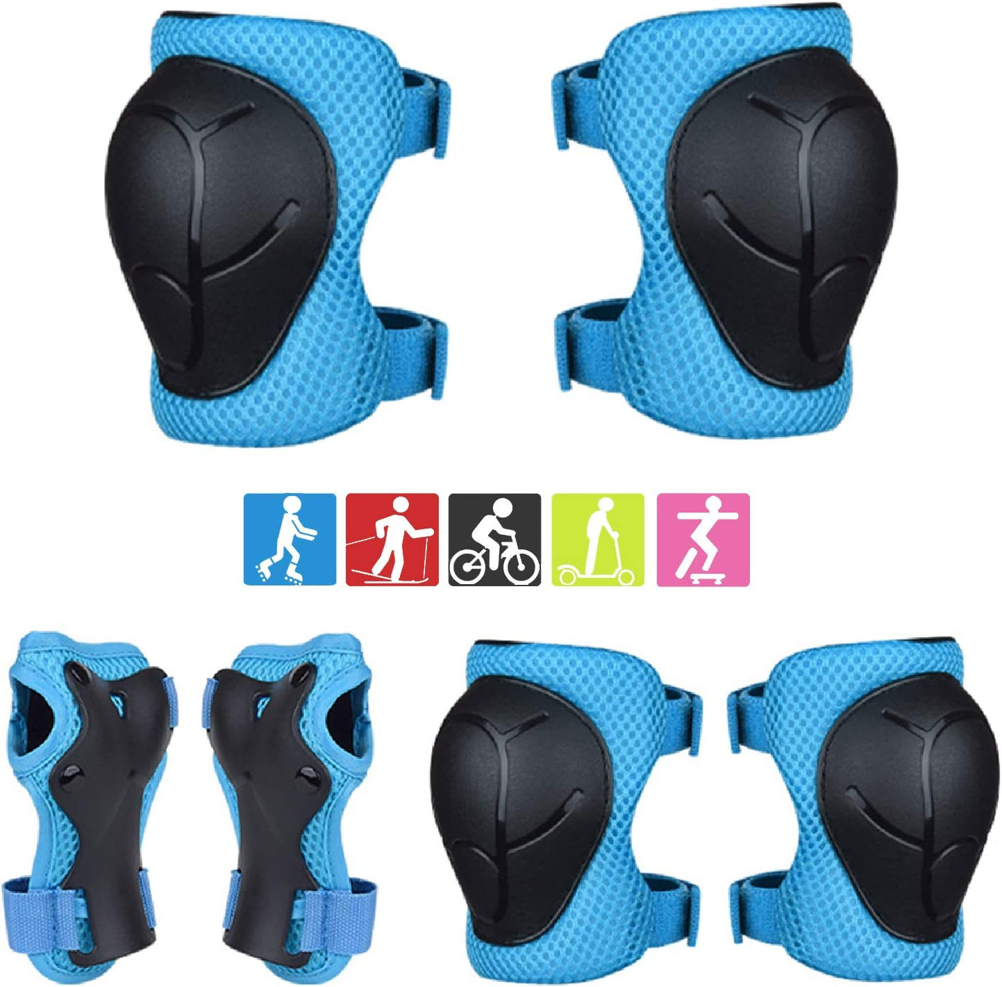 Kids Protective Gear,Include Knee Pads,Elbow Pads,Wrist Guard 6 in 1 Set for Kids,Offer Full Protective for Rollerblading Skateboard Cycling Skating Bike Scooter