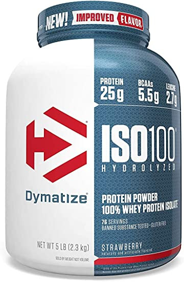 Amazon Com Dymatize Iso100 Hydrolyzed 100 Whey Protein Isolate Strawberry 5 Lbs Health Personal Care