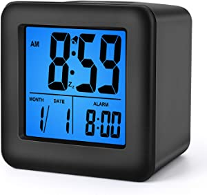 Plumeet Easy Setting Digital Travel Alarm Clocks with Snooze, Blue Nightlight, Large Display Time/Date/Alarm, Ascending Sound Alarm, Batteries Powered (Black)