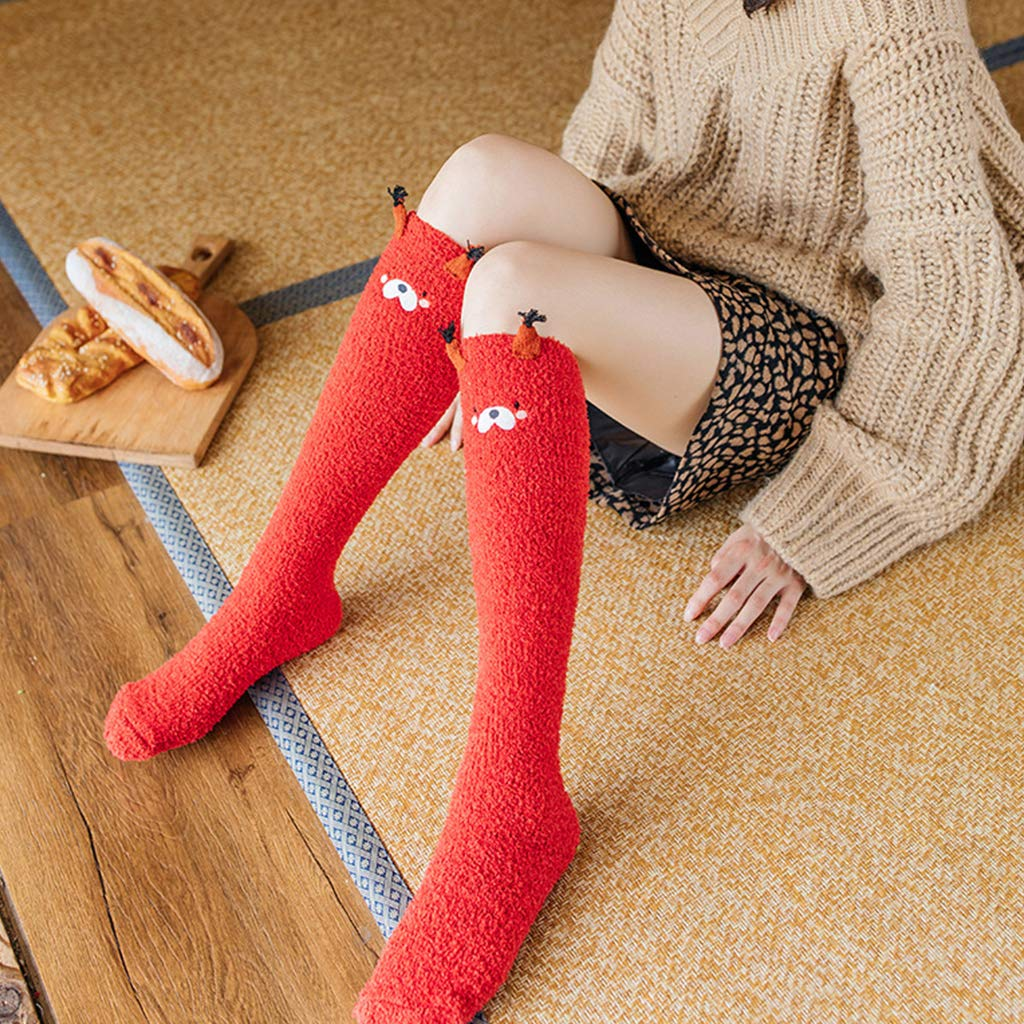 1# Nero ZOOMY Calzino Invernale da Donna in Velluto Color Corallo con Scaldacollo Simpatico Cartone Animato Color Caramella Scaldamuscoli