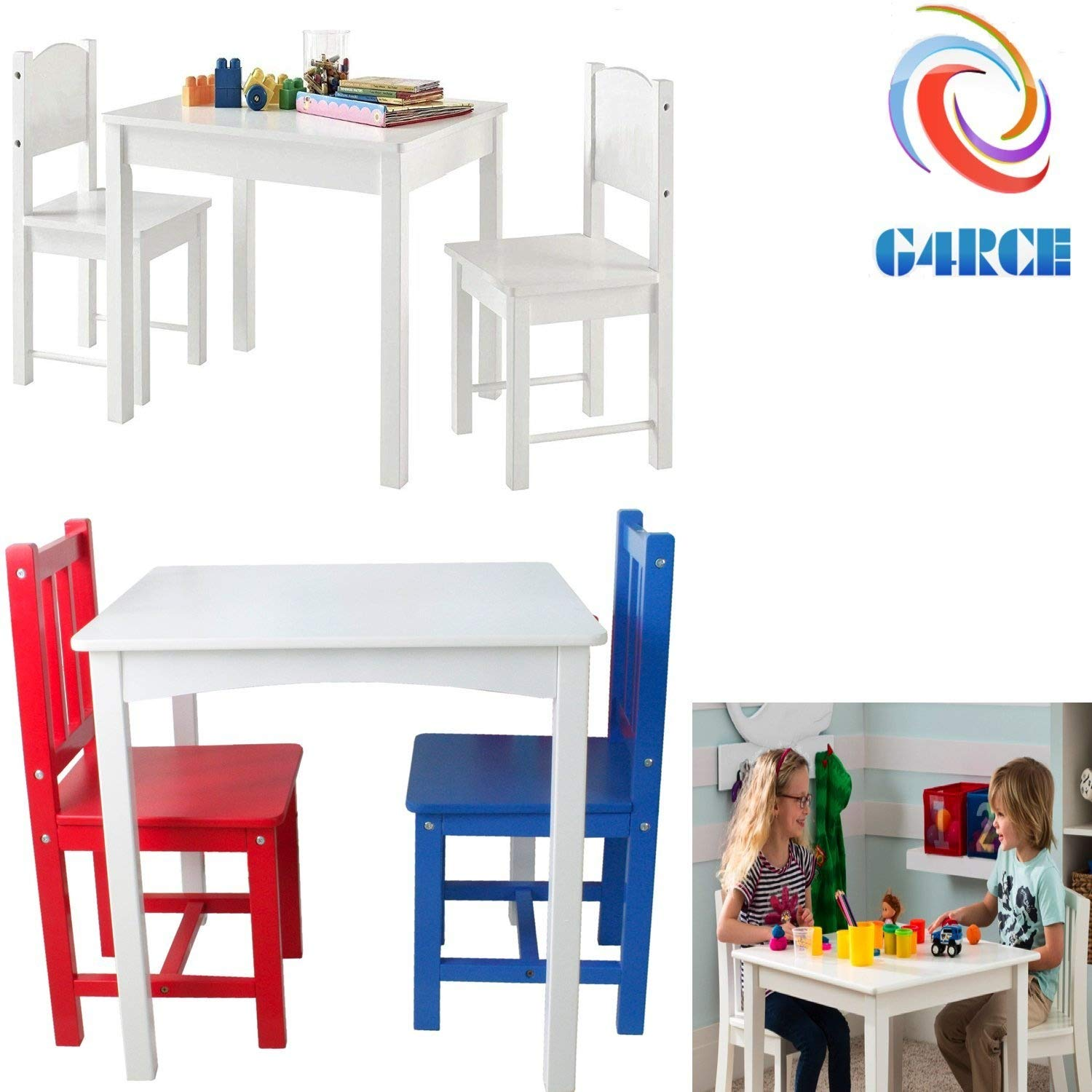 G4RCE® Childrens Kids Wooden White Table and 2 Chairs Nursery Sets Indoor Use Unisex Best Gift For Birthday Xmas (Colour Table & Chair)