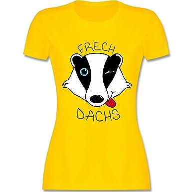 Statement Shirts - Frechdachs - S - Gelb - L191 - Damen T-Shirt Rundhals