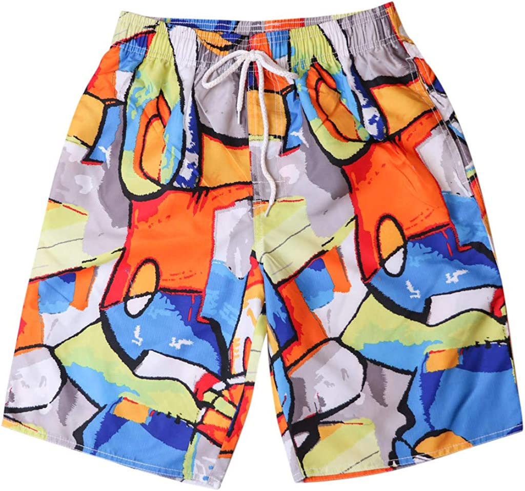 Colmkley Mens Quick Dry Swim Trunks Summer Casual Beach Shorts with Drawstring
