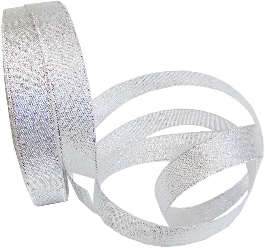 Organza Ribbon,2 Rolls 0.8 Inch Gold Glitter Ribbons Metallic Ribbons for Gift Wrapping Decorations DIY Crafts Arts