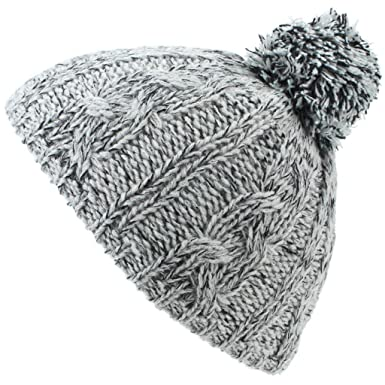 a30d298a343 Hawkins Babies Chunky Knit Bobble Beanie Hat - Grey  Amazon.co.uk  Clothing