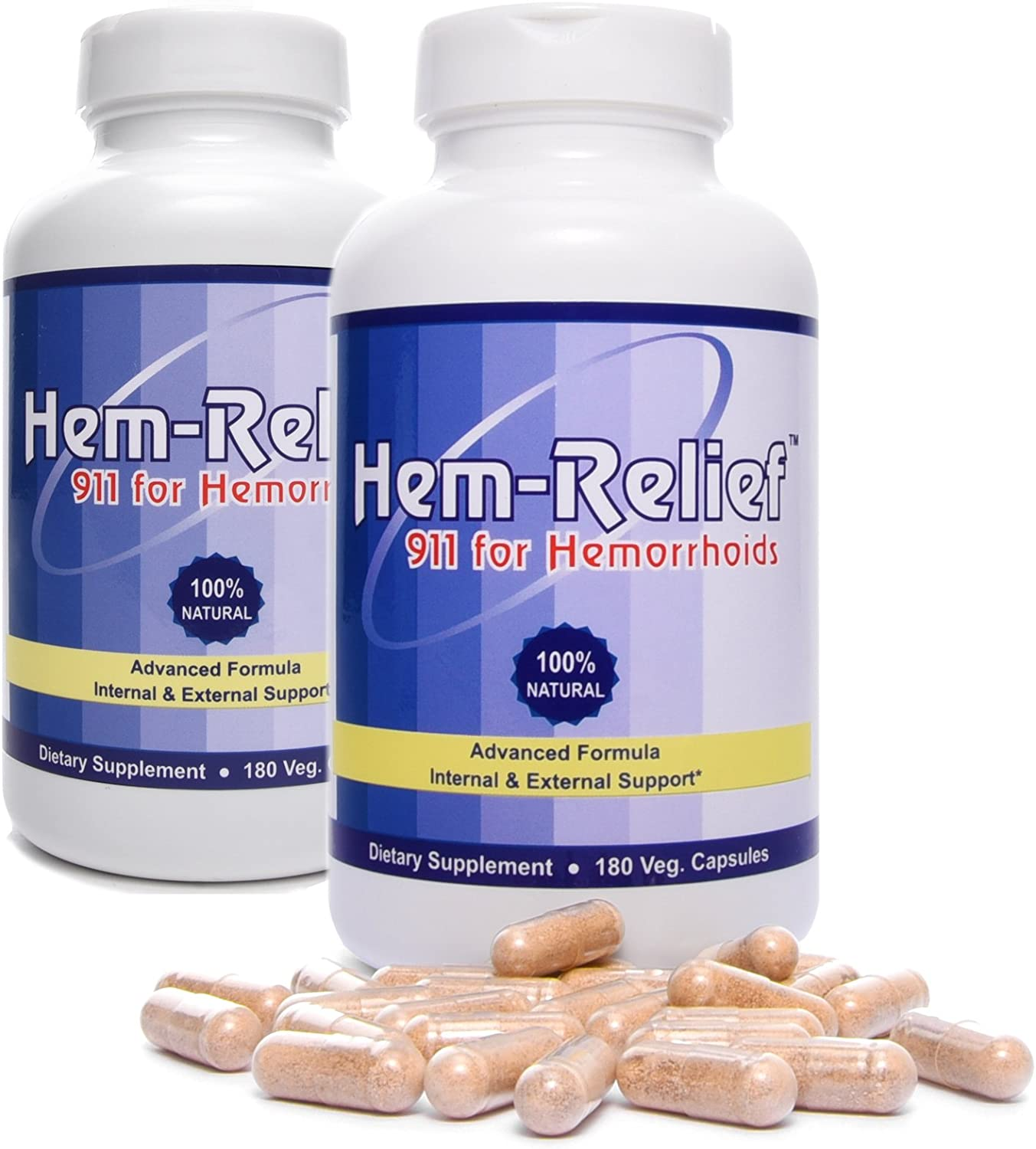 Western Herbal and Nutrition | Hem-Relief 911 for Hemorrhoids | 100% Natural Formula | Helps with Pain, Itching, Burning | Fast Acting Supplement | Internal & External Treatment | 360 Vegetarian Caps: Health & Personal Care