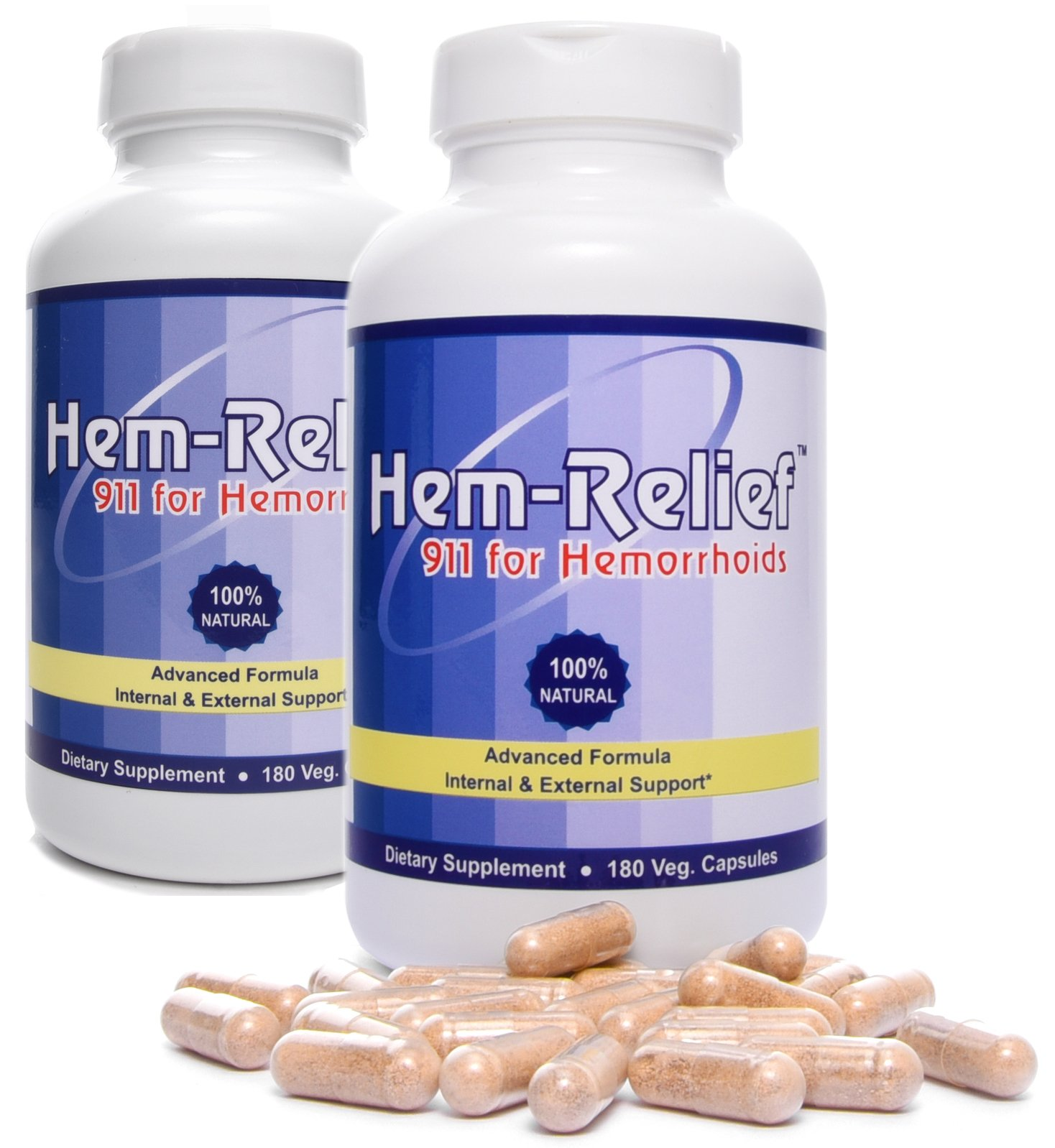 Western Herbal and Nutrition | Hem-Relief 911 for Hemorrhoids | 100% Natural Formula | Helps with Pain, Itching, Burning | Fast Acting Supplement | Internal & External Treatment | 360 Vegetarian Caps by Hem Relief