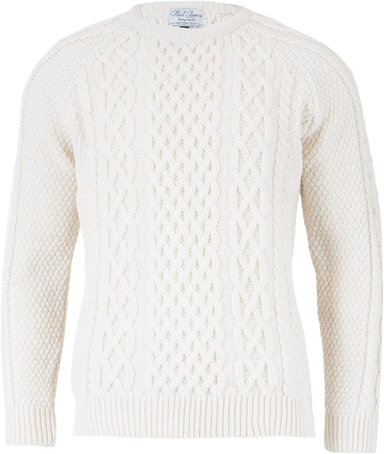 Paul James - Anderson Mens Aran Direct store Made Merino G in Sweater Wool Mail order cheap