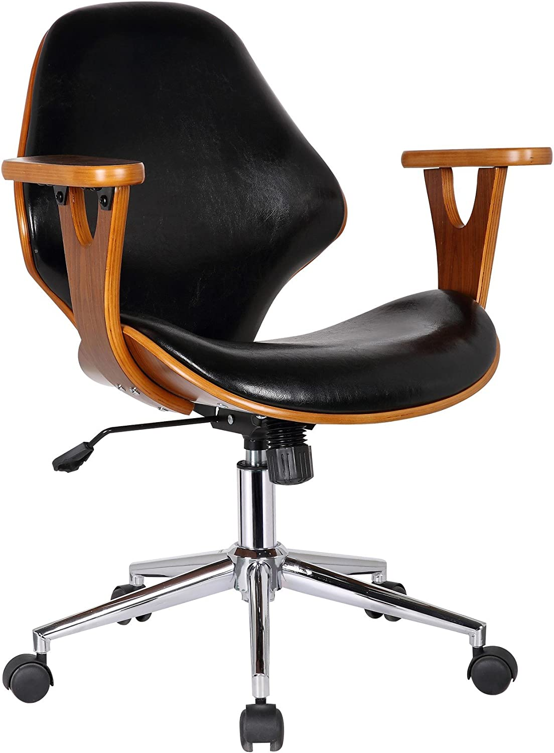 Porthos Home Lilian Office Chairs In Mid Century Modern Design with Arm Rests, Leather Upholstery, Height Adjustment & Stainless Steel Legs, Black