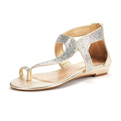 1ea44fe098d0ff DREAM PAIRS Women s Weitz 02 Gold Fashion Rhinestones Low Wedge Sandals  Size 5 ...