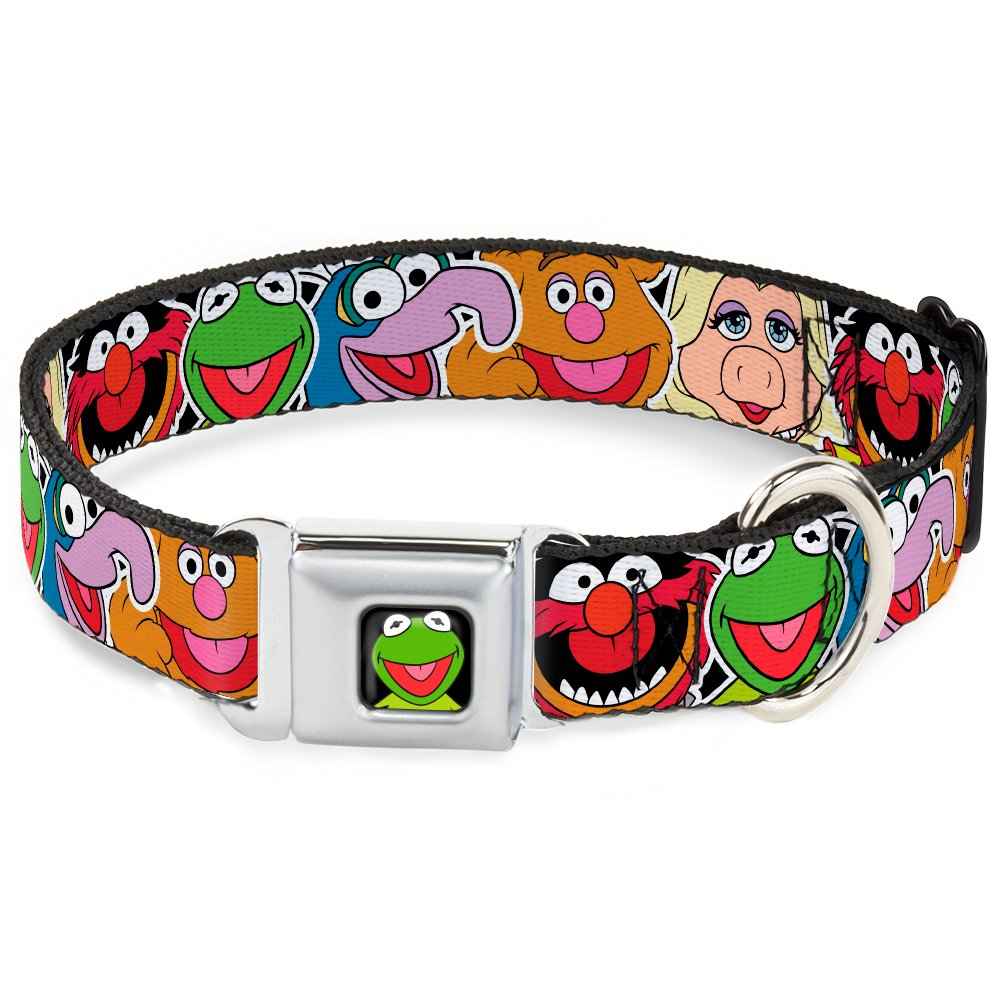 Muppets Faces CLOSE-UP Black 1\ Muppets Faces CLOSE-UP Black 1\ Buckle-Down DC-WDY089-S DYBI Kermit Face Full color Black Dog Collar, Small 9-15