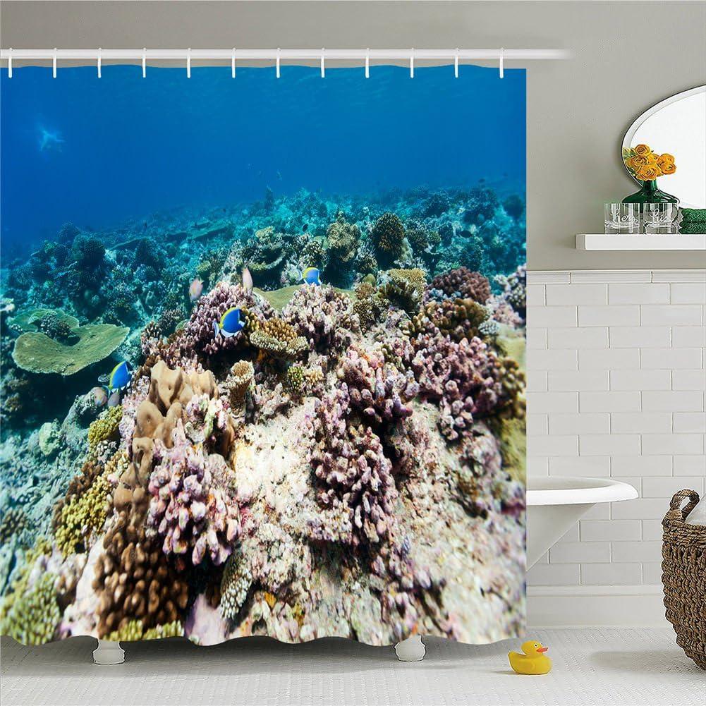 Tierra Mar curtain-polyester de ducha impermeable cortina de ducha ...