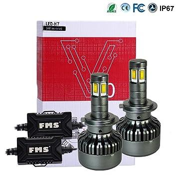 FMS 2 * H7 LED Faro Bombillas LED Coche Kit, Moto Alquiler de Luces del