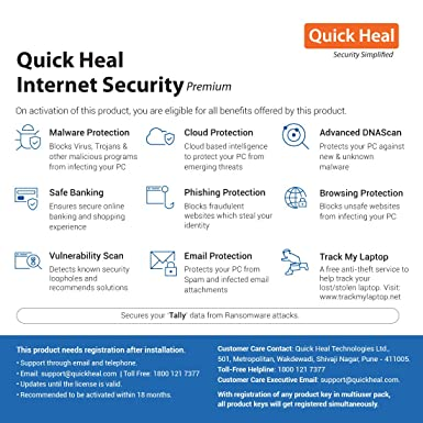 Quick Heal Internet Security 3 PCs, 1 Year (DVD)