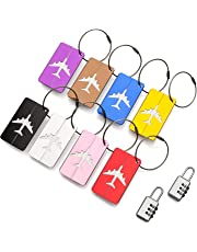Travel Holiday Luggage Baggage Tags (8 Pack) ID Address Labels for Suitcase Handbags - Strong Aluminium Tags with Locking Cables - Plus x2 Combination Travel Locks