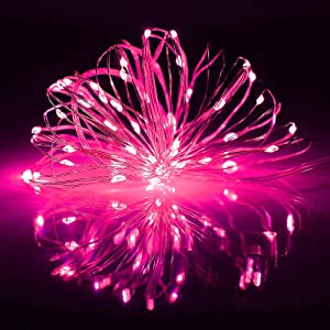 POP MART Pink Christmas Lights 33Ft 100 Mini LED Fairy String Light USB Battery Operated 8 Blinking Modes RC Decoration Lighting for Indoor Outdoor Bedroom Garden Waterproof Starry Copper Wire Light