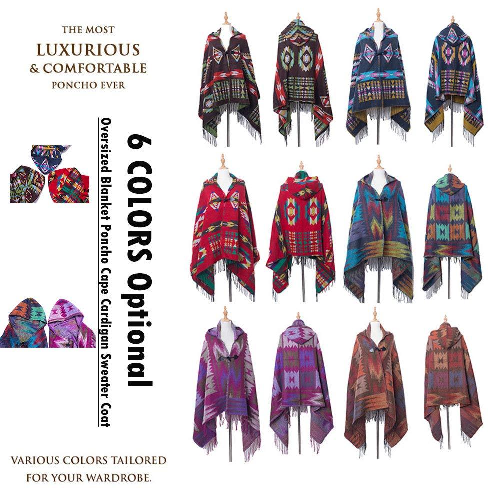 LifeUp Ponchos para Mujer, Encapuchado Poncho Cape Abrigo de Abrigo ...