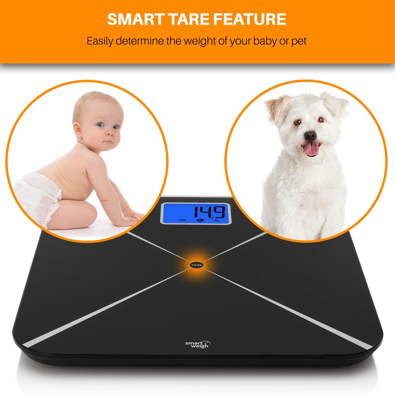 Smart Weigh Báscula de baño digital inteligente con pantalla LCD grande y plataforma de vidrio templado y con capacidad de 440 libras/200 kg, ...