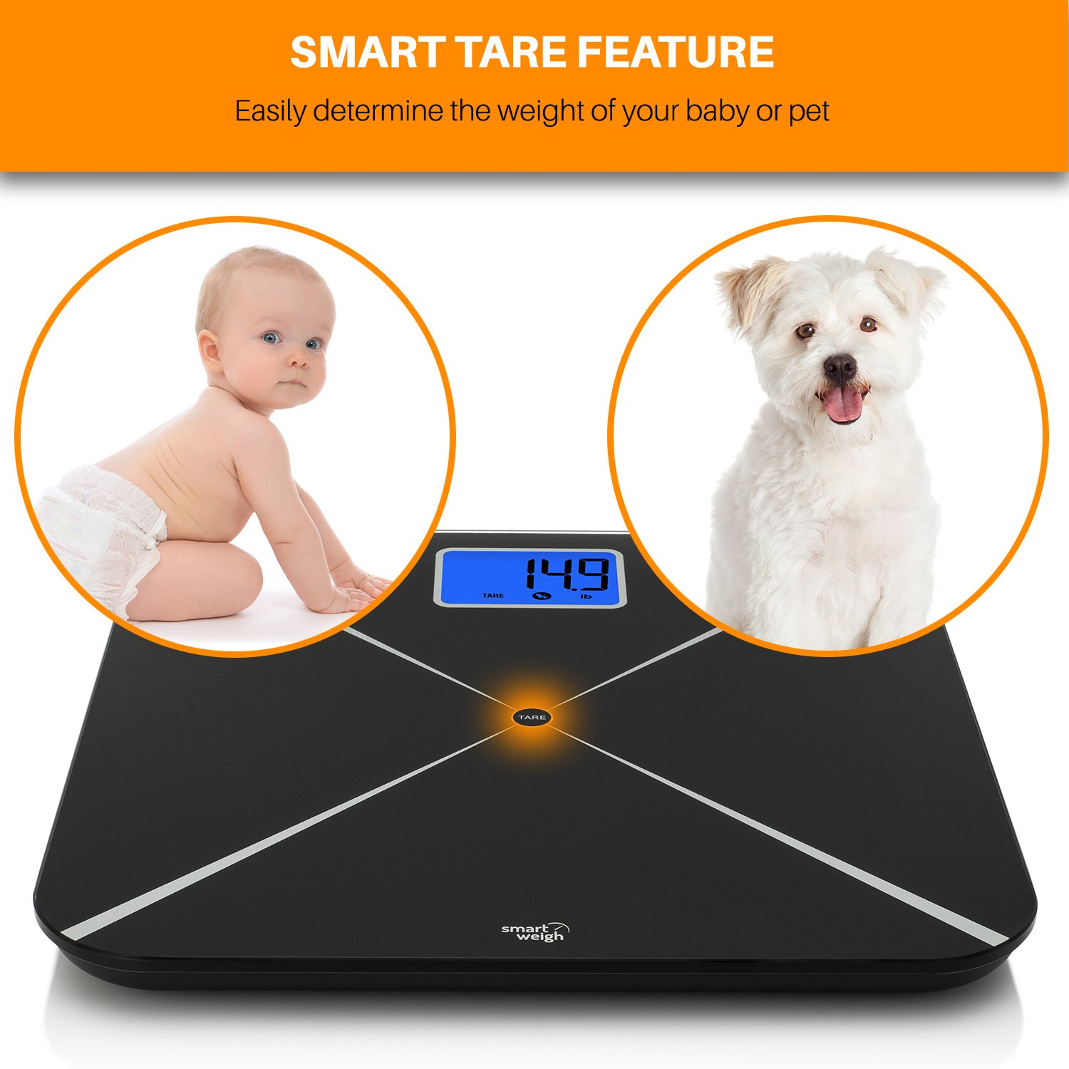 Smart Weigh Digital Body Weight Scale with Baby or Pet Tare Weighing Technology, Bathroom Scale with Large LCD Display and Tempered Glass Platform, 440lbs/200kg Capacity (Black) by Smart Weigh (Image #3)