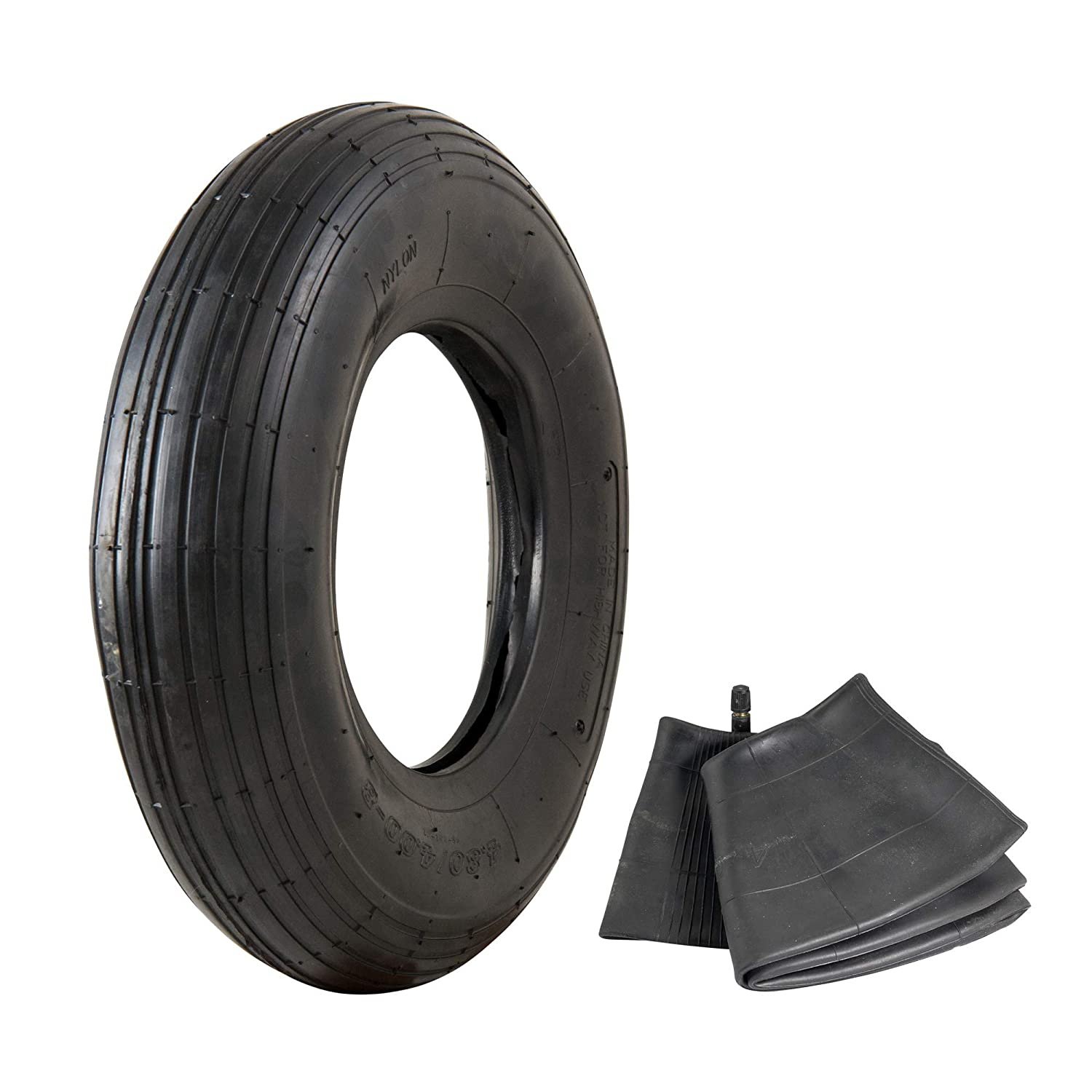"4.80/4.00-8"" Replacement Pneumatic Wheel Tire and Tube"