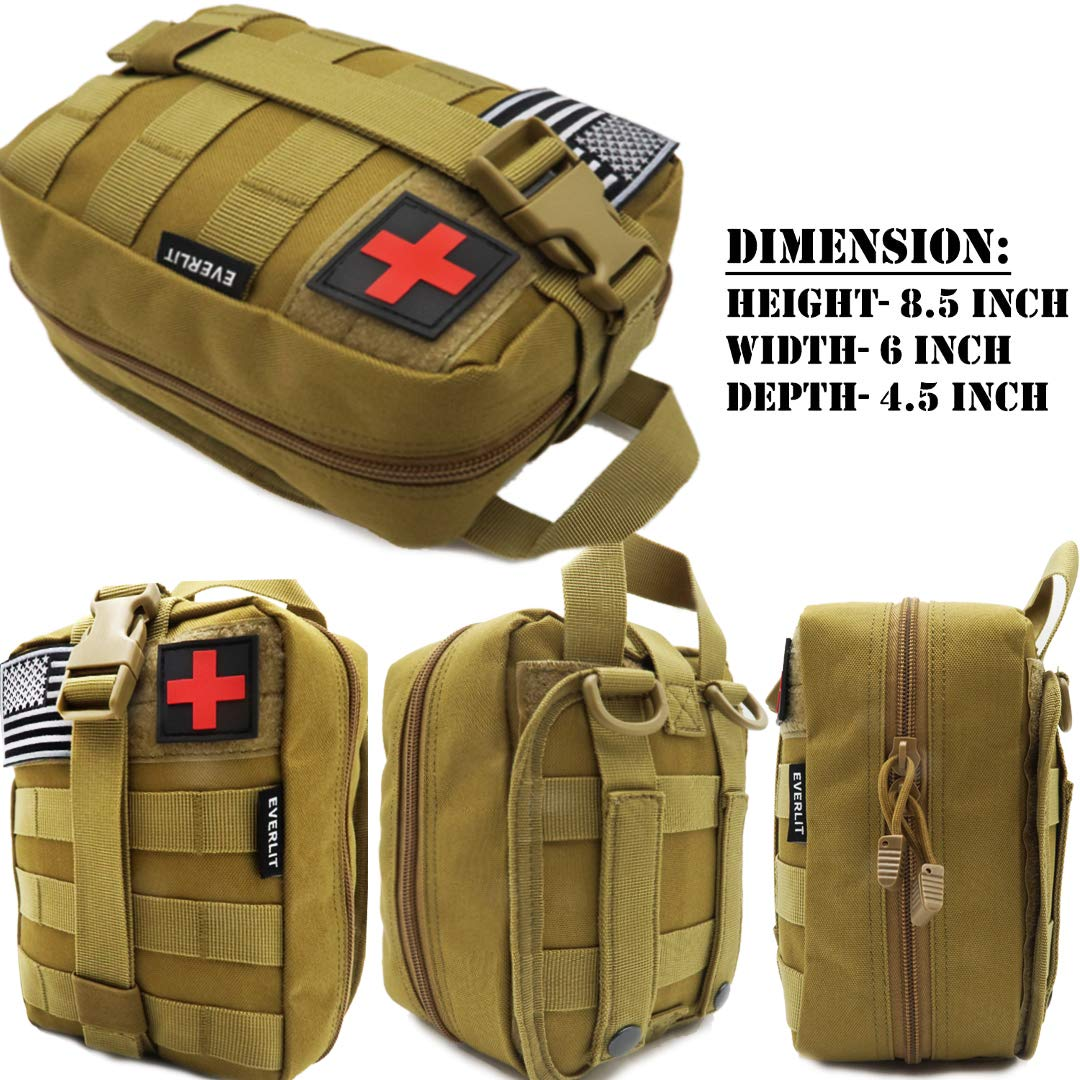 EVERLIT 250 Pieces Survival First Aid Kit IFAK Molle System Compatible Outdoor Gear Emergency Kits Trauma Bag for Camping Boat Hunting Hiking Home Car Earthquake and Adventures (Tan) by EVERLIT (Image #2)