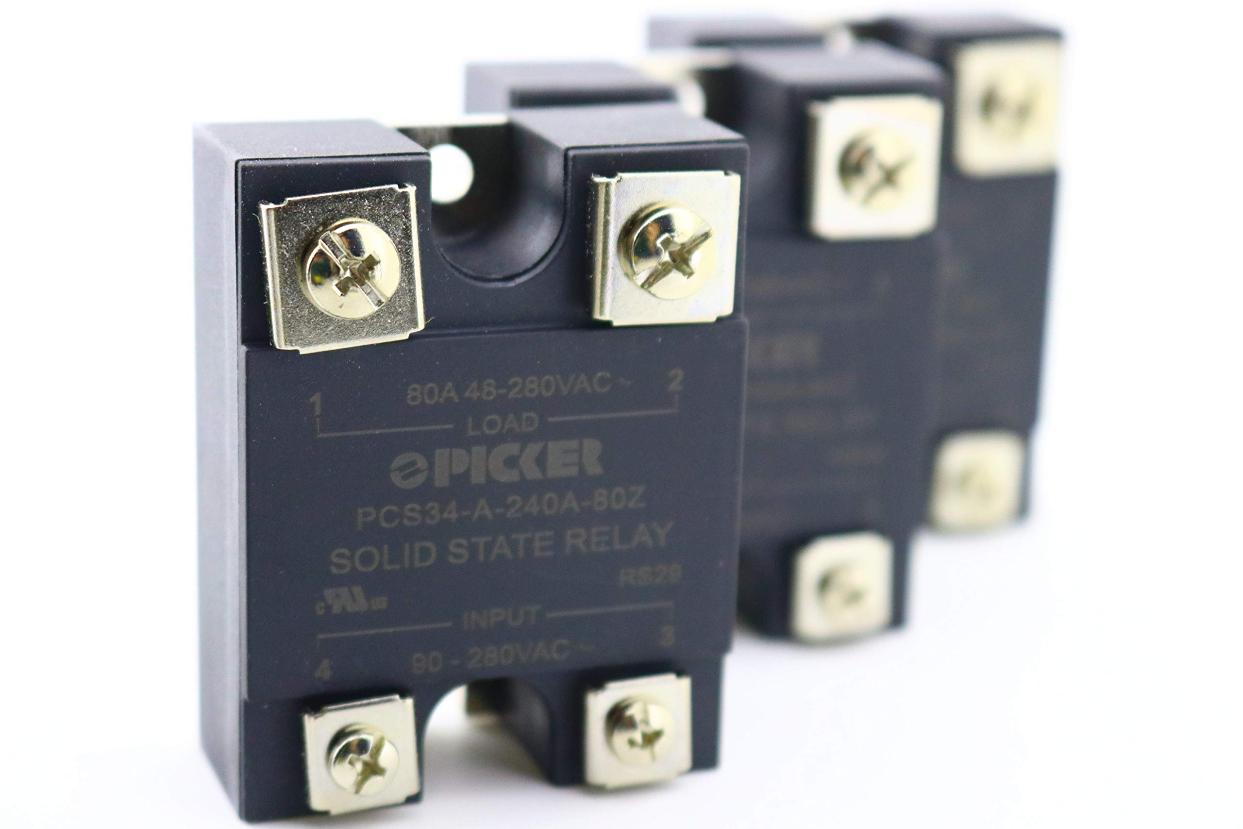 (x3) PCS34-A-240A-80Z-3 | 80 Amp, 48-280 VAC Zero Crossing Output | UL Rated | 90-280 VAC Input | Hockey Puck Solid State Relay | Cross: Crydom A2475 and CWA2490