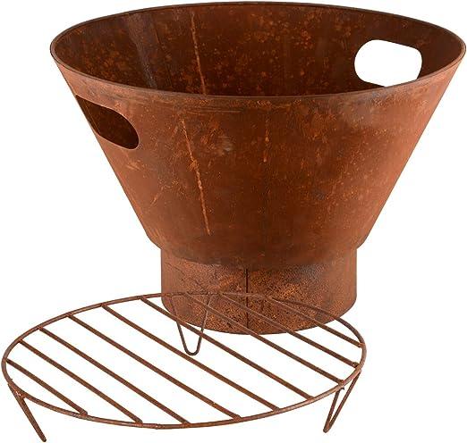 RM Design Brasero de metal para terraza, jardín, en óxido, diámetro de 53 cm