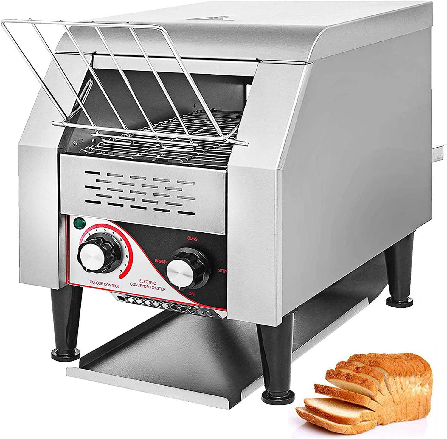 VEVOR 1340W Commercial Conveyor Toaster 150PCS/Hour Electric Heavy Duty Stainless Steel for Restaurant Breakfast, Sliver,110V