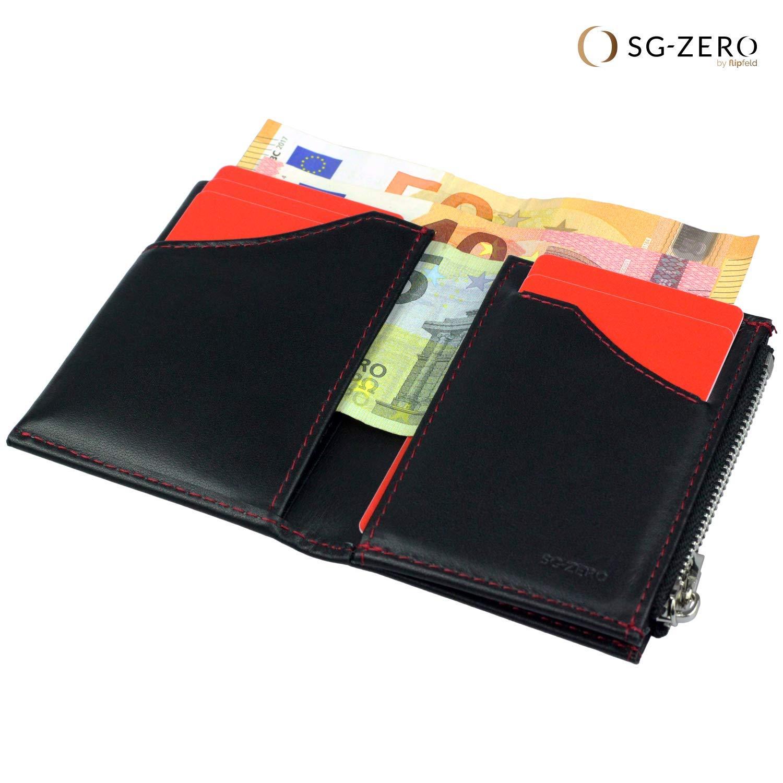 bdb81f1350ee3 SG Zero Leder-Geldbeutel Herren mit Münzfach schwarz rot – ideales Geschenk  für Männer