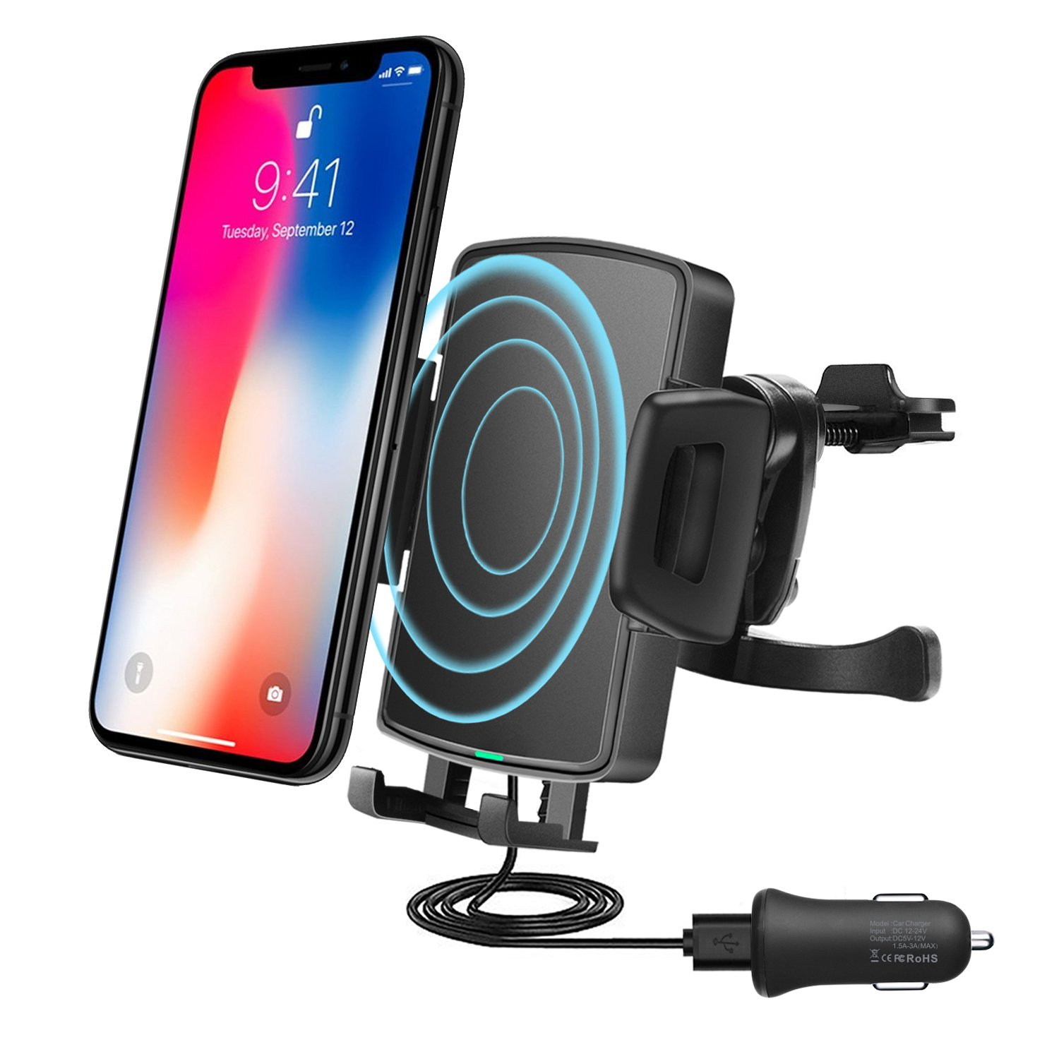 高速ワイヤレス車充電器、qivv Qi Fast 10 W充電車マウントwith Air Vent Phone For SamSung Galaxy s9 /s9 Plus、s8 /s8 Plus、s7、s7 Edge/s6 Edge Plus, Note 8 /5、7.5 W for iPhone X、8 /8プラス B07D286RLG
