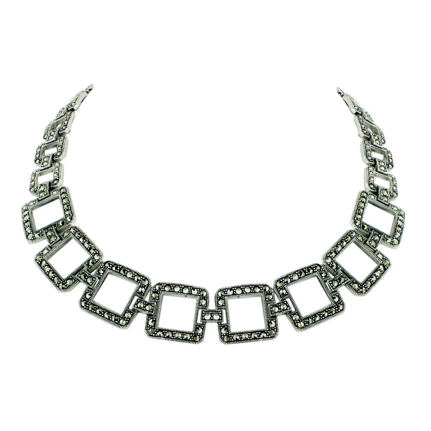 Sterling Silver Marcasite 17 Inches Pave Marcasite Open Square Link Necklace