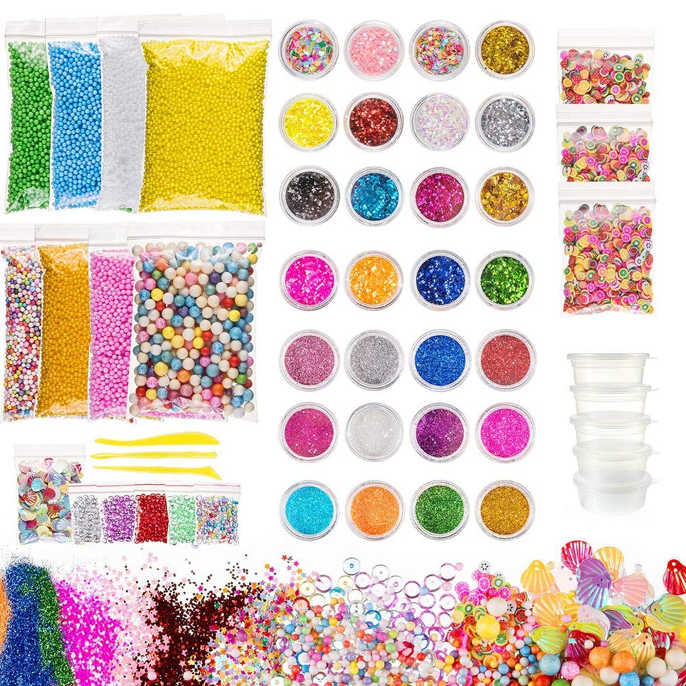 Slime Supplies Kit, 53 Packs Foam Balls Charms for DIY Slime, Included Foam Beads, Fishbowl Beads, Storage Containers, Star Confetti, Fruit Slices, Shell, Glitters and Sequins, Slime Tools for Art DIY