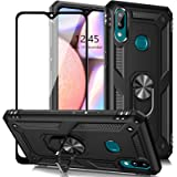 AUPAI for Galaxy A10s Case with Glass Screen Protector, Heavy Duty 15ft Drop Tested Shockproof Cover with Magnetic Ring Kicks