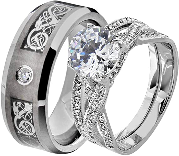 His Hers Mens STAINLESS STEEL 6MM Band /& 2 pc Womens Engagement Wedding Ring Set