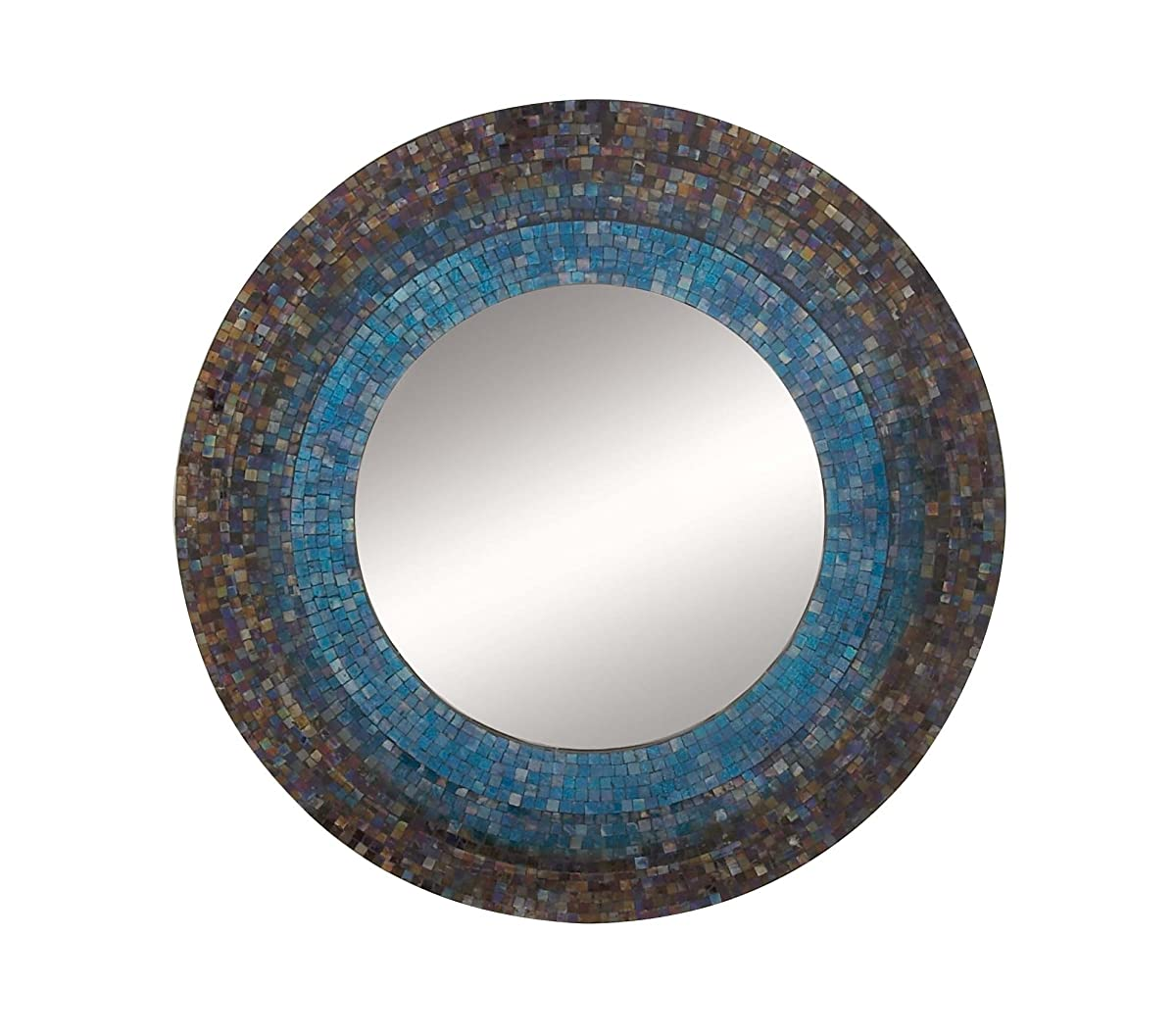 "Deco 79 97975 Mosaic Wooden Wall Mirror, 30"", Blue/Multi-Colored"