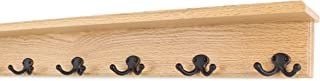 """product image for Oak Shelf Coat Rack with Aged Bronze Double Style Hooks (Natural, 26"""" with 5 hooks)"""