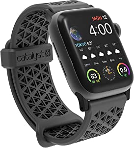 Sport Band for Apple Watch 38mm 40mm, Hypoallergenic, Breathable Wristband, Soft Silicone Replacement Bands, Sport Band for iWatch Series 1,2,3,4,5 by Catalyst - Space Gray