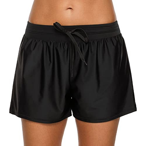 CharmLeaks Womens Sports Swim Shorts Surf Board Shorts Swimwear Swimsuit with Drawstring and Pocket