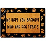 LRZ Rubber Doormats We Hope You Brought Wine and Dog Treats (23.6 X 15.7 in) Colorful Print Top with Anti-Slip Rubber…