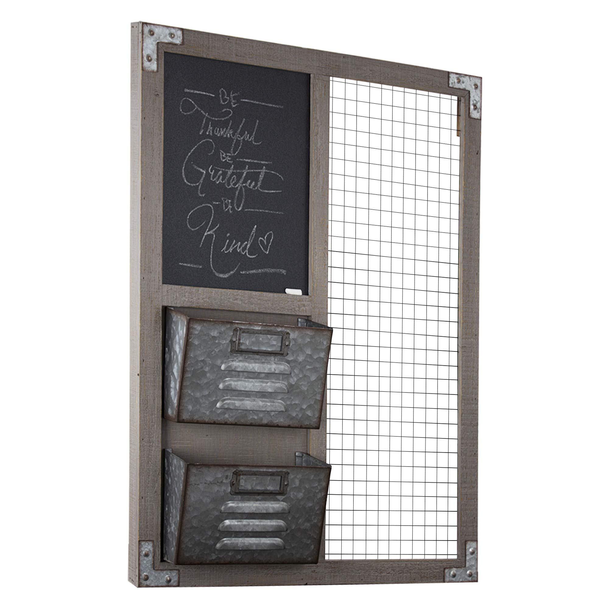 American Art Décor Wood and Metal Hanging Wall Organizer with Chalkboard and Storage Bins