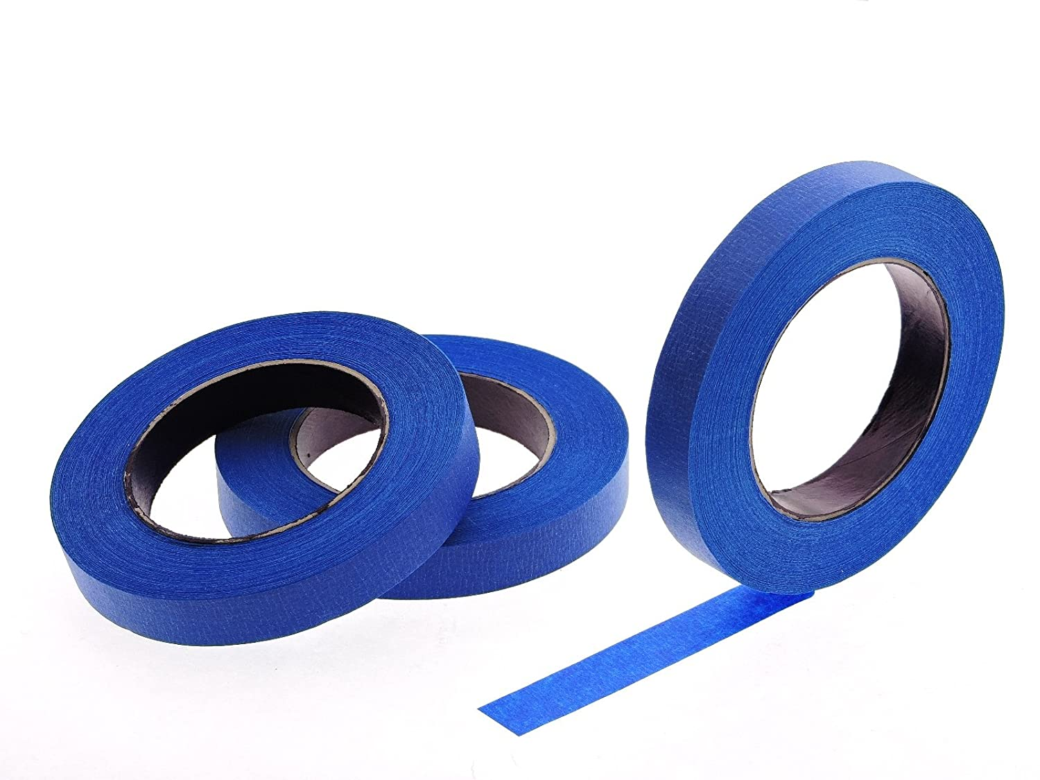 """3pk 3/4"""" x 60 yd Blue Painters Tape PROFESSIONAL Grade Fine Masking Edge Pin Stripping Trim Multi Surface Easy Removal (18MM .75 in)"""