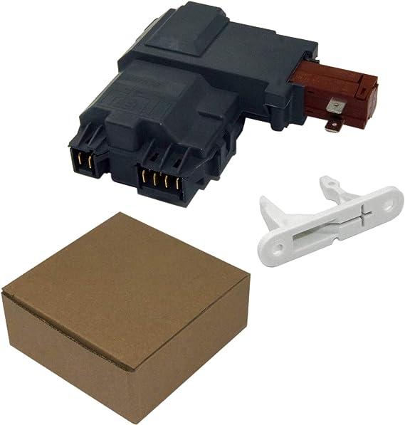 ApplianPar 134550800 Washer Door Hinge with Bushings and 2Pcs 131763310 Washer Door Striker for Frigidaire Kenmore Washing Machine