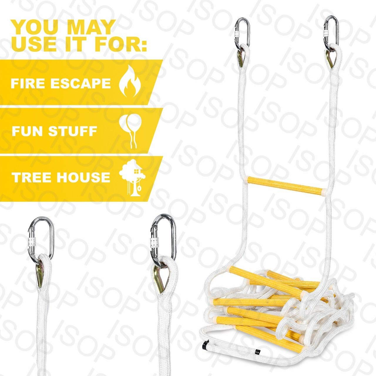 ISOP Indoor/Outdoor Rope Ladder 15 ft - Sturdy Exercise Rope Ladder - Climbing Hanging Rope for Kids & Adults - Rope Ladder for Swing Set (15ft)