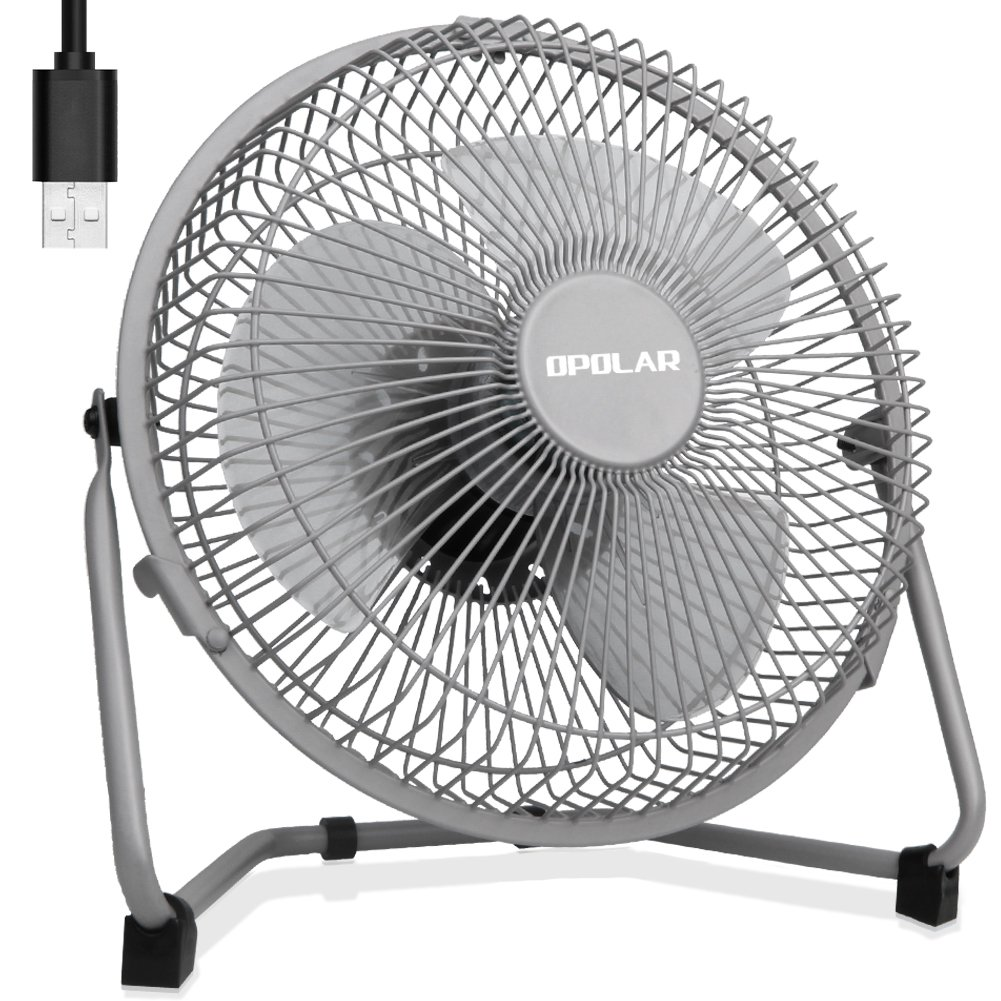 OPOLAR 9 Inch USB Fan, USB Powered ONLY (No Battery), Desk Fan with Enhanced Airflow, Lower Noise, Two Speeds, Perfect Personal Cooling Fan for Home Office Desk-Gray