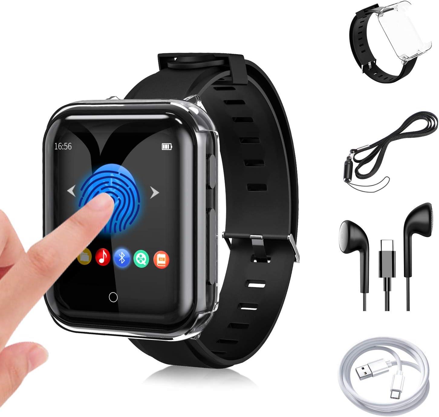 32G Reproductor MP3 Bluetooth 5.0 JBHOO MP3 Running con Correa de Reloj, FM Radio, Podómetro Deportivo, Grabación, 1.5